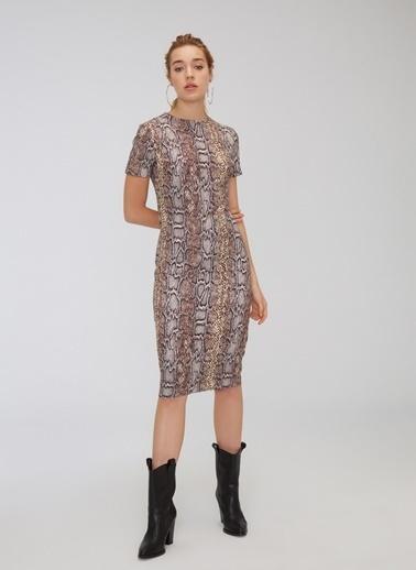 People By Fabrika Yılan Desenli Elbise Bej
